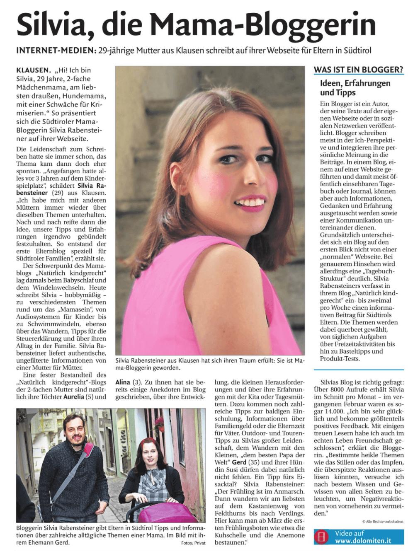 Beitrag im Tagblatt Dolomiten vom 17.03.2018