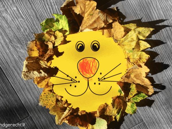 Löwenkopf gebastelt aus Herbstlaub und Blättern