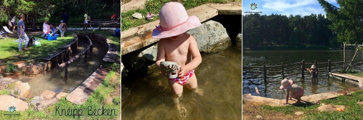 Mädchen im kleinen Schwimmbecken des Völser Weiher in Völs am Schlern
