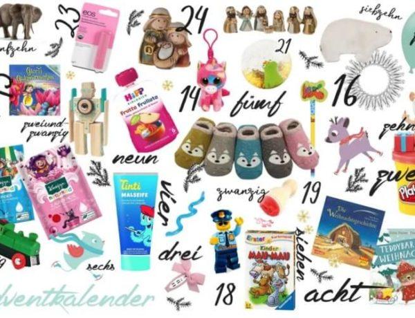 24 Ideen um den Kinder Adventskalender zu füllen - Alle Füllideen sind auf diesem Bild abgebildet
