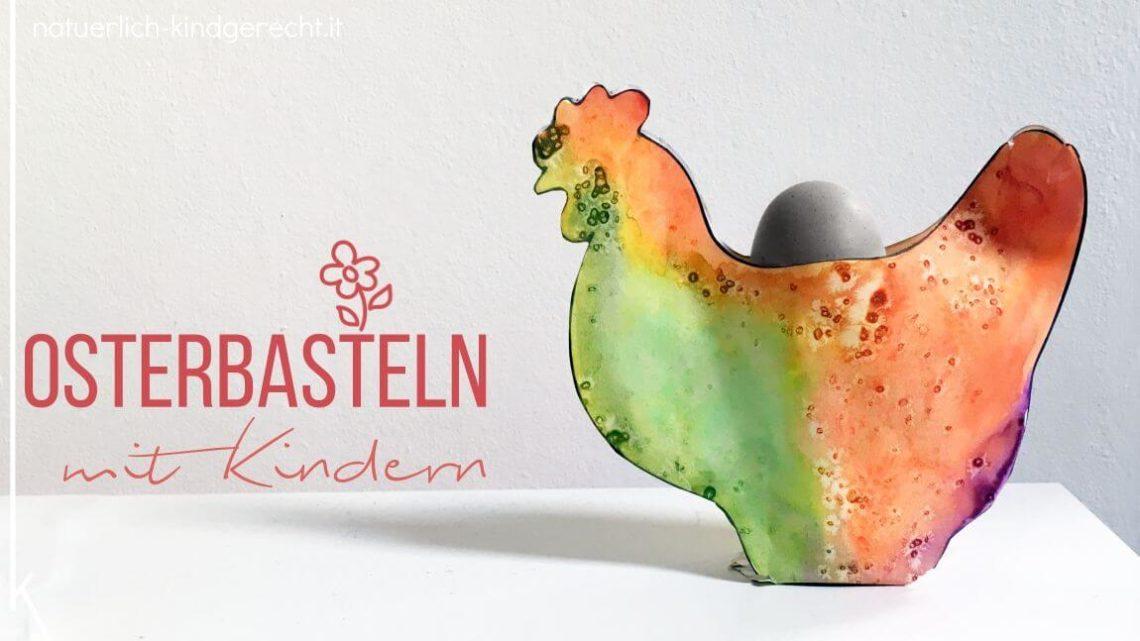 Osterbasteln mit Kindern Osterkörbchen für die Kindergartentante