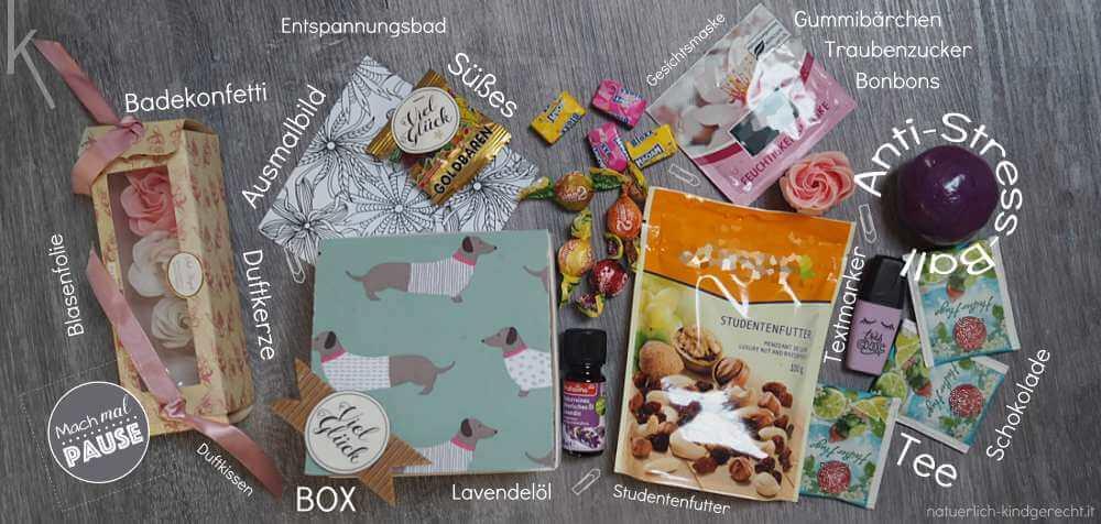 Anti-Stress-Box Inhalt auf einen Blick Geschenk für Freundin Unistress