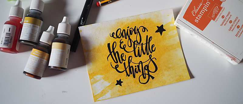 Handlettering Enjoy the little things Karte basteln