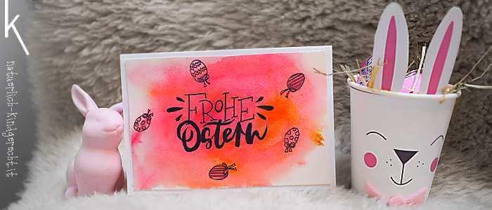 Kunterbunte Ostergrüße basteln Watercolor Handlettering