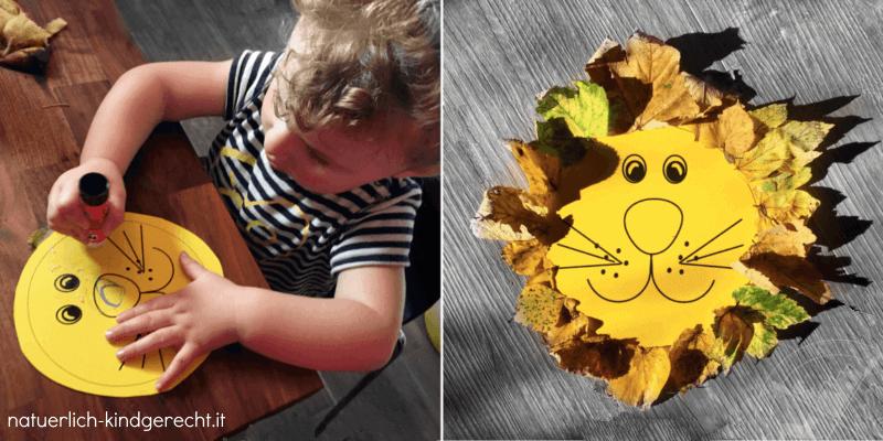 Links: Kind klebt Blätter auf eine Vorlage und rechts ist das Bastelergebnis zu sehen