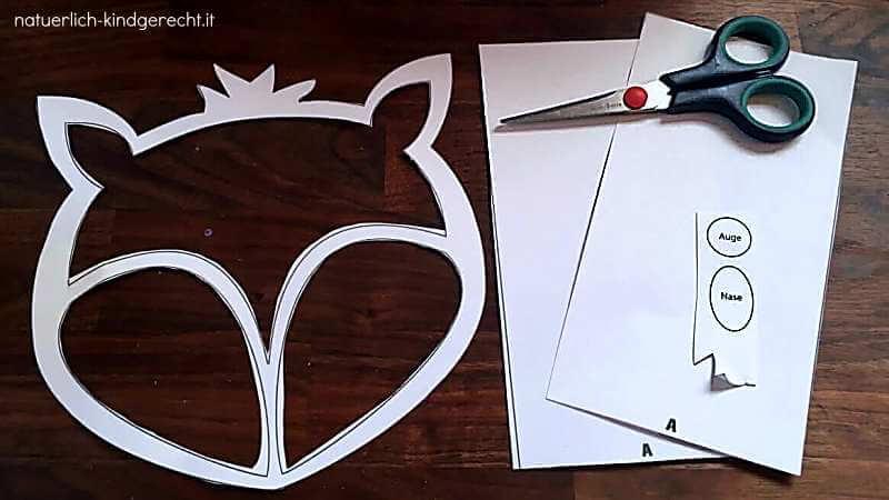 ausgeschnittene Vorlage für die Fuchs-Laterne