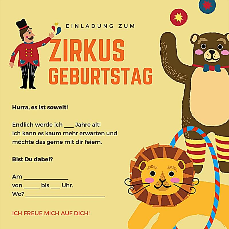 Vorschaubild Einladung zum Zirkusgeburtstag