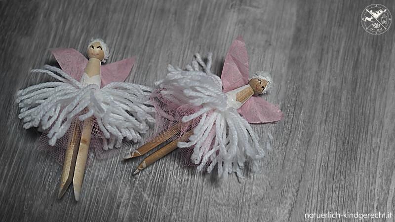 Ballerina aus Holz-Wäscheklammern basteln Anleitung Ideen für das Mädchenzimmer