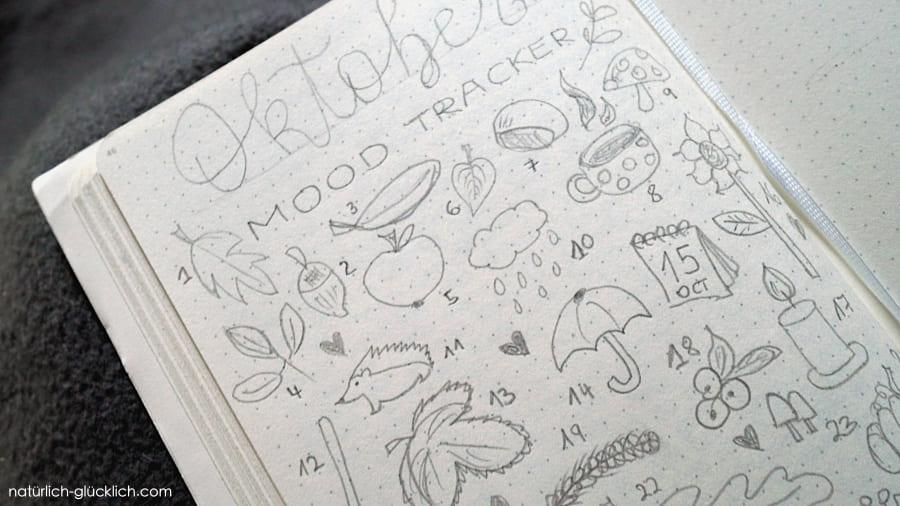Doodle gegen Depression Tagebuch schreiben für ein glücklicheres Leben