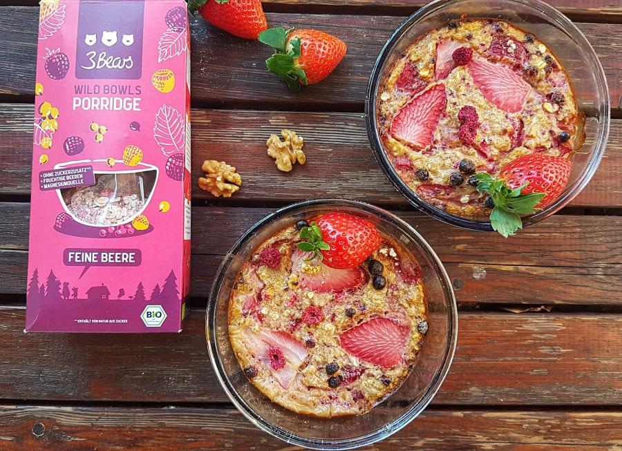 3Bears Porridge Ideen gesunder Beeren-Auflauf mit haferflocken